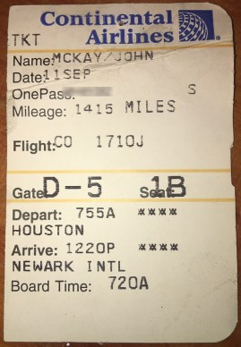 My Boarding Pass Stub From 9/11/2001