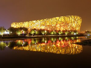 The Bird's Nest stadium from 2008 Olympics