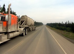 Passing an 18-wheeler on the Dalton Highway