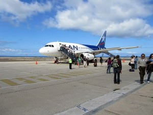 Arrival on Lan Airlines at the open-air Galapagos airport.