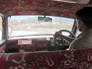 Inside an Ambassador taxi in Mumbai, India